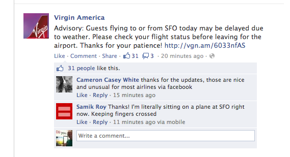 Virgin America FB message